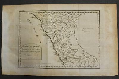 Lima North Peru 1771 Jacques Nicolas Bellin Unusual Antique Copper Engraved Map