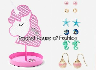 Lot of Justice Unicorn Jewelry Holder Set and Ocean Magic Earrings 6pk New