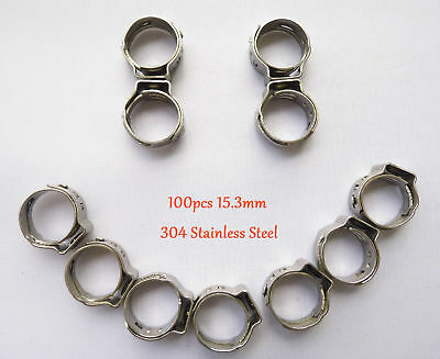 """100pcs 15.3mm 3/5"""" PEX Stainles Steel Ear Clamp Cinch Rings Crimp Pinch Fitting"""