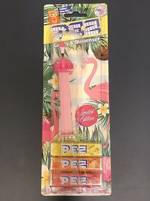 Pez Flamingo Mabel Floyd Pink Stem Limited Edition Dispenser Bloster Pack Card