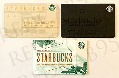 NEW Starbucks Recycled Gift Cards - Lot of 3 - NEVER SWIPED 2016 2017 2018