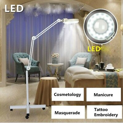 Beauty Magnifying Lamps LED Illuminated Light Magnifier Floor 8X Wheeled