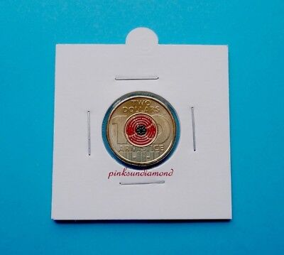 Australia 2018 $2 Two Dollar Remembrance Day Armistice Centenary Red Poppy Coin.