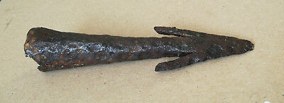 Authentic Ancient Roman Military Socketed Iron Cavalry Ferrum Spear-Harpoon