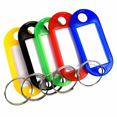 30/50x Key Rings Tags Plastic Assorted Color Name Label ID Keys Tag Luggage Fo P