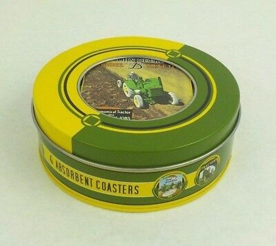 John Deere Stone & Cork Absorbent Coasters - 4 Designs - Comes In Tin Holder