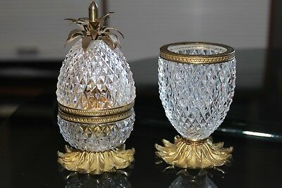 Art Deco Cut Crystal Pineapple Smokers Set Made in France/Evans USA - Baccarat??