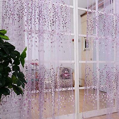 Flower Print Sheer Scarf Valance Window Floral Tulle Voile Door Window Curtain A