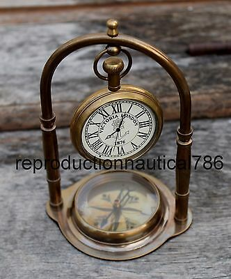 Solid Brass Working Desk Top Clock With Compass Handmade Nautical Decorative