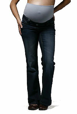 Indigo Bootcut Maternity Jeans, Over Bump Pregnancy Denims Petite Tall Plus Size