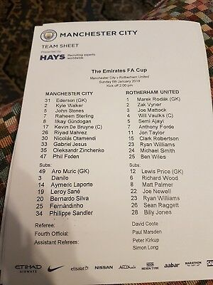 Official Manchester City Vs Rotherham United Teamsheet