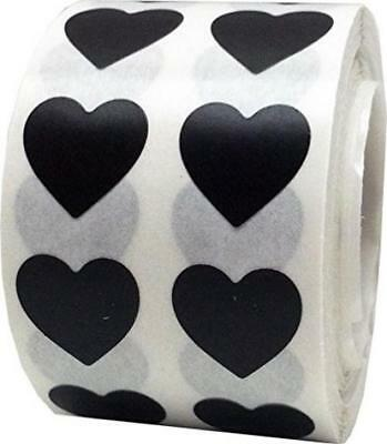 Black Heart Stickers, 13 mm 1/2 Inch Wide, 1000 Labels on a Roll
