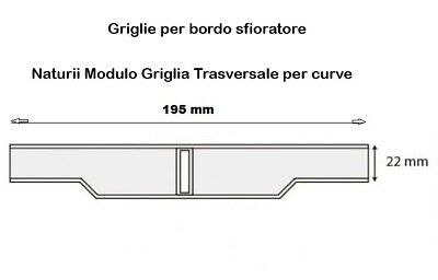 10 pz griglia bordo sfioro piscina Curvabile mm 195 x 22 cod. Astral 00220