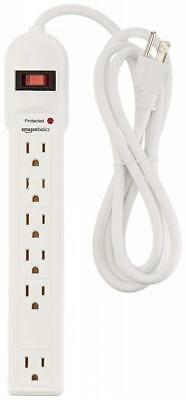 AmazonBasics 6-Outlet Surge Protector Power Strip, 790 Joule - White