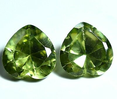 NATURAL Gorgeous Heart Shape Green Cambodian ZIRCON Pair 11.70 Ct Loose Gems