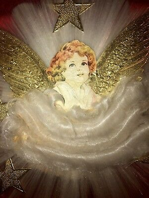 1930's National RARE ANGEL AND SANTA Spun Glass Christmas Tree Topper in Box