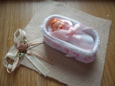 Vintage baby doll and bed for dolls house good condition