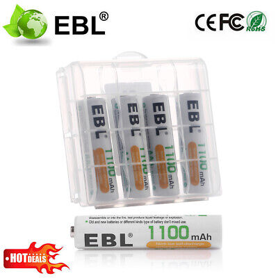 EBL 4 Pack AAA 1100mAh Rechargeable Batteries Ni-MH High Capacity 1200 Cycle New