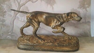 Superb French Solid Bronze Statuette Of A Hunting Dog ~ Signed P Chenet