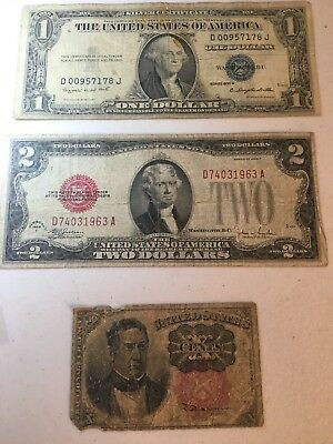 Mix Lot Of US Paper Money Silver Certificate Red Note Fraction Note