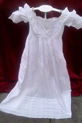 Christening Gown – Victorian, Long, Hand Stitched Cotton With Whitework Needle T