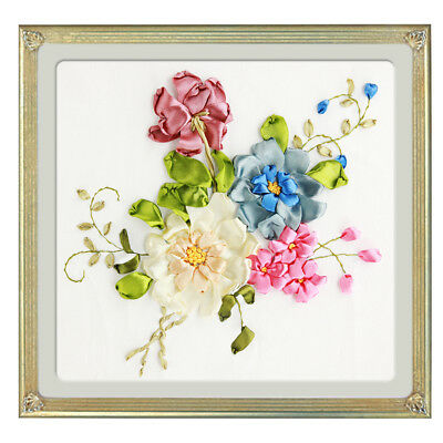 Silk Ribbon Embroidery Kits DIY Flowers Painting Kits Stamped Cross Stitch