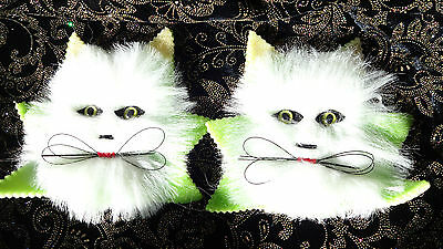 Vintage~Retro~Foam/Fur~Cat Magnets~Gag Gift~Green~Hand Crafted~Kitten~Christmas