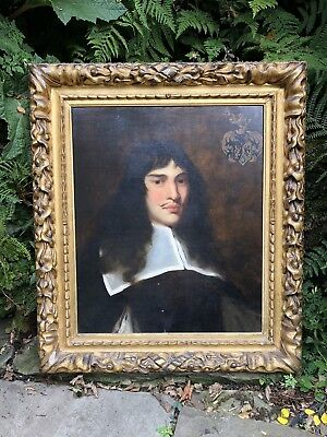 Oil On Canvas Of A 17th Century Gent Antique Carved Frame