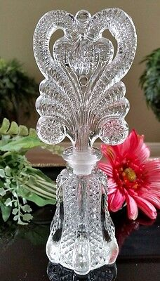 """Beautiful Vintage Fancy Pressed Cut Glass 7.5"""" Tall Perfume Bottle and Stopper"""
