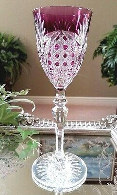 Vintage VAL ST LAMBERT Amethyst Purple Cased Cut to Clear Crystal Wine Goblet