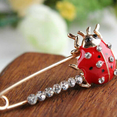 4ef0a6ab6 Large Gold Ladybug Safety Diamante Pin Jewerlly Scarf Clothes Crystal Brooch