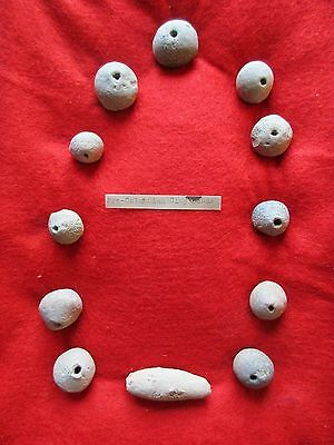 Vintage Pre-Columbian Clay Bead Collection, Museum Quality 12 Pieces  #co-00639