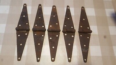 "5 Vintage Steel Strap Hinges 12"" Barn Gate Door Shed Antique Great Patina"
