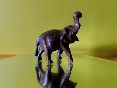 Collectible Carved Wood Elephant With Her Trunk Up For Good Luck