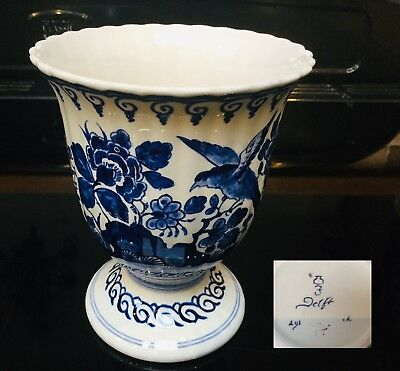 Dutch Delft Fles Blue And White Vase Chinoiserie Bird Pattern