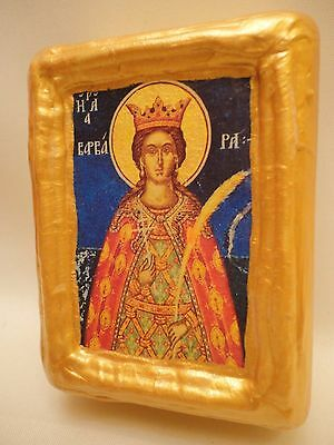 Santa Barbara Rare Byzantine Greek Eastern Orthodox Icon on Pine Wood Block