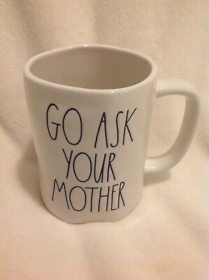 35b47f68279 RAE DUNN GO Ask Your Mother Ceramic Coffee Mug Artisan Collection Magenta  New