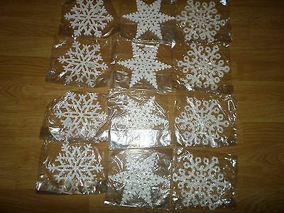Dept 56  Lot Of 12 White Christmas Glitter Snowflake Ornaments New In Package