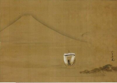 JAPANESE PAINTING HANGING SCROLL JAPAN Mt. Fuji MOUNTAIN boat ANTIQUE ART 493i
