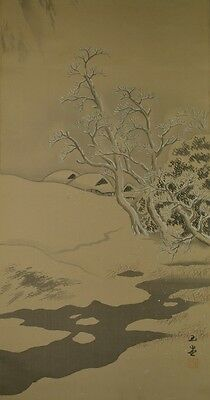 JAPANESE PAINTING LANDSCAPE HANGING SCROLL Japan Asian KAKEJIKU ink AGED ART u88