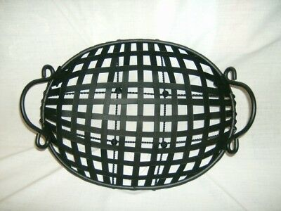 Black Iron Metal Handled Ball Footed Basket ~Large & Heavy~