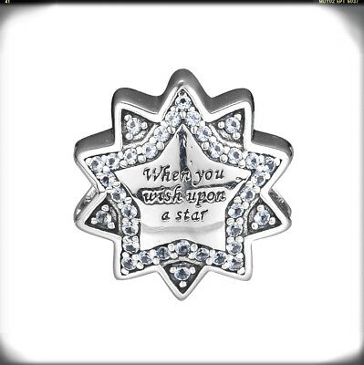Authentic S925  Sterling Silver When You Wish Upon a Star CZ Bead Charm New!