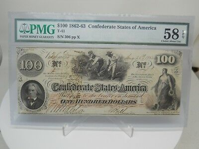 1862 $100 Dollar Confederate States Currency Hoer Note Paper Money T-41 Pmg 58