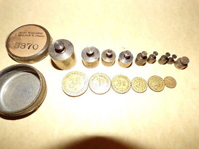 Vintage/antique Apothecary/pharmacy Scale Weights & Newark Scale Coin Weights