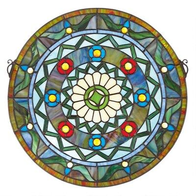 """16.5"""" Victorian Tiffany-Style Bold Geometric Stained Glass Round window Panel"""