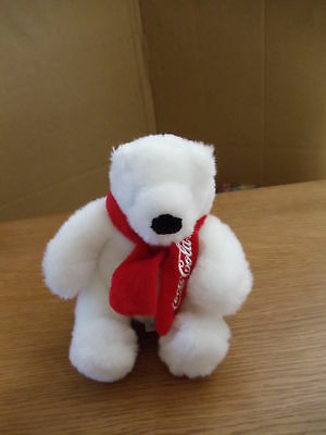 White Coca Cola Stuffed Bear with red scarf