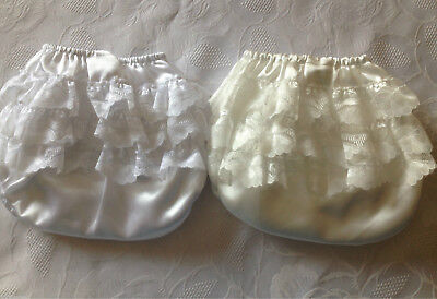 Baby Girls Satin Lace Frilly Bum Knickers Nappy Cover 0-6 Months New White/ivory