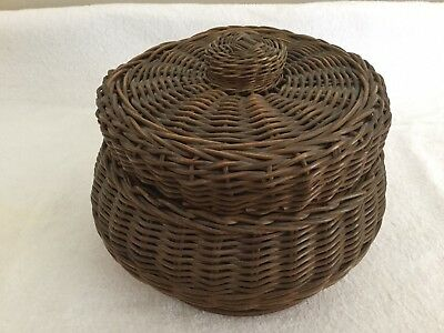 Antique Unique Woven Wicker Sewing Basket with Accessories