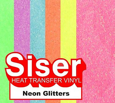 "12"" Neon Glitter - Siser Easy Weed Heat Transfer Vinyl - Iron on HTV"