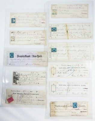 LOT of 11 US Bank Checks 1800s New York Boston Lynchburg Revenue Stamps